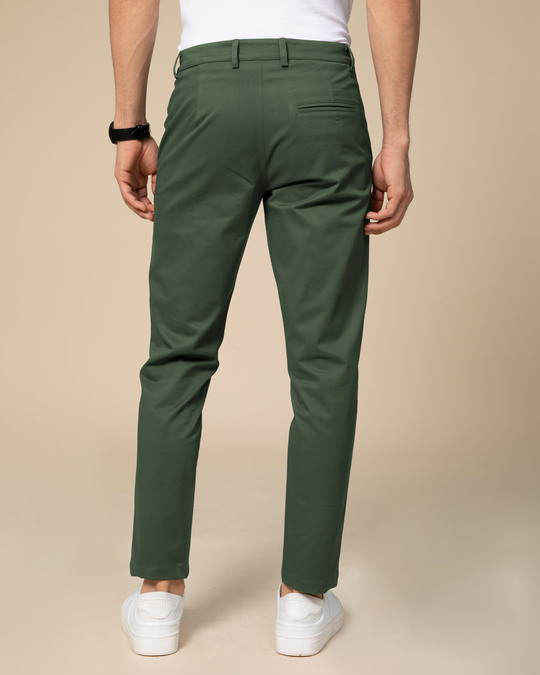 Shop Basil Green Slim Fit Cotton Chino Pants-Design