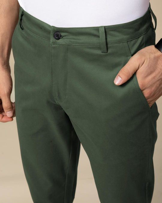 Shop Basil Green Slim Fit Cotton Chino Pants
