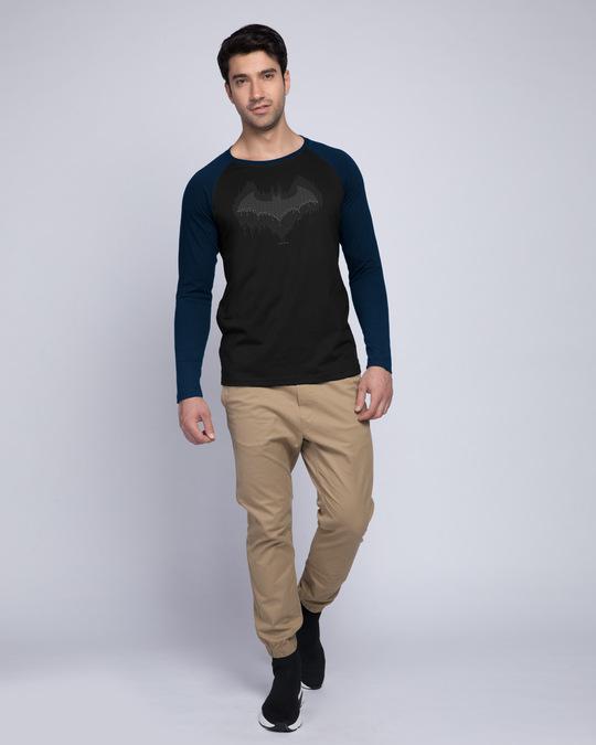 Shop Bat Drip Full Sleeve Raglan T-Shirt (BML) Navy Blue-Black-Full