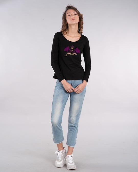 Shop Bat Girl Scoop Neck Full Sleeve T-Shirt (BML)-Design