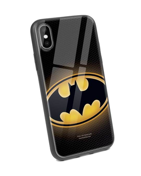 Shop Bat Logo iPhone X Glass Mobile Cover (BML)-Back