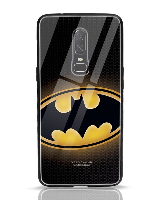 Shop Bat Logo OnePlus 6 Glass Mobile Cover (BML)-Front