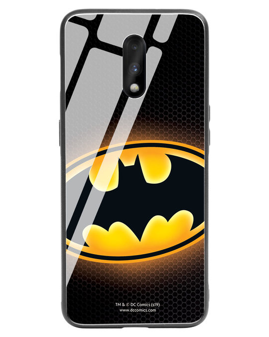 Shop Bat Logo OnePlus 7 Glass Mobile Cover (BML)-Front