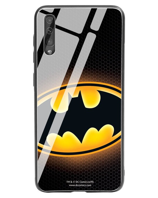 Shop Bat Logo Samsung Galaxy A50 Glass Mobile Cover (BML)-Front