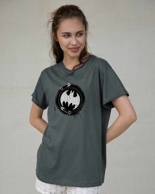 Shop Batman Applique Boyfriend T-Shirt (BML)-Back