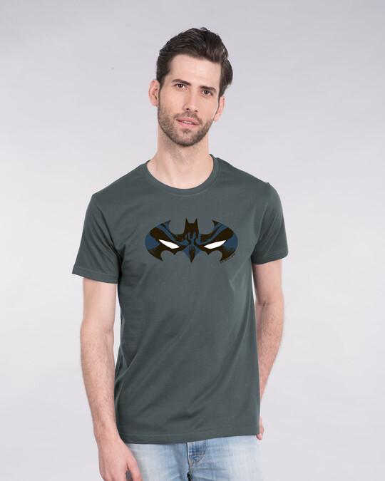 Shop Batman Eyes Logo Half Sleeve T-Shirt (BL)-Back