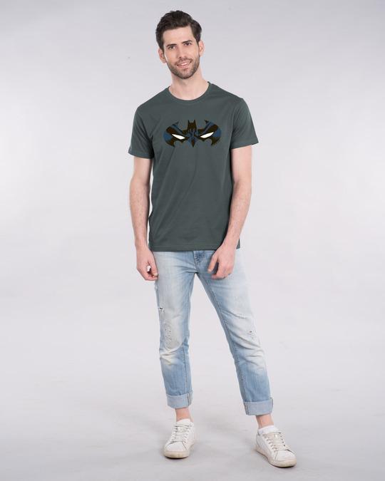 Shop Batman Eyes Logo Half Sleeve T-Shirt (BL)-Full