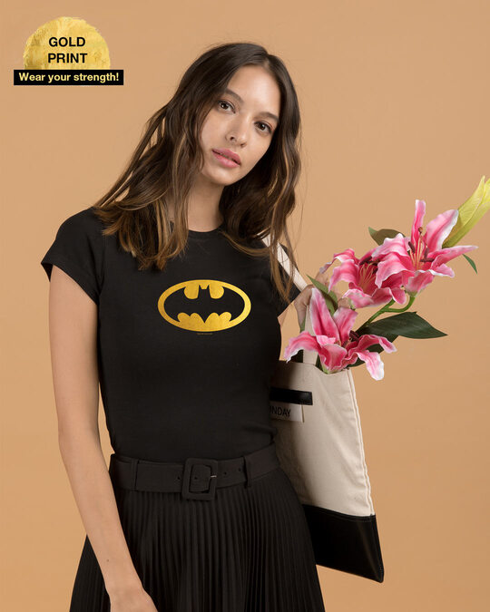 Shop Batman Gold Half Sleeve T-Shirts Black-Front