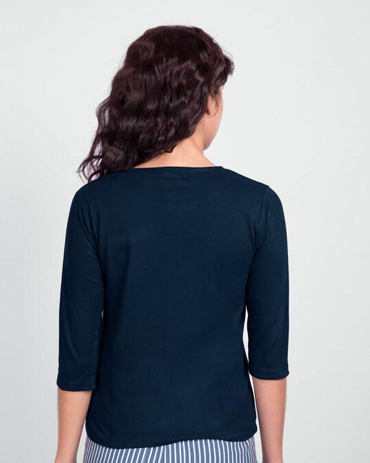 Shop Batman Gold Round Neck 3/4 Sleeve T-Shirt Navy Blue-Design
