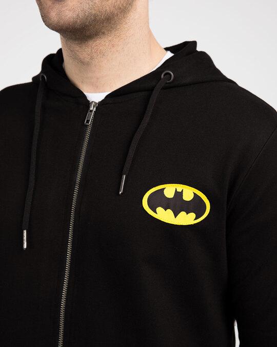 Shop Batman Logo Badge Zipper Hoodie