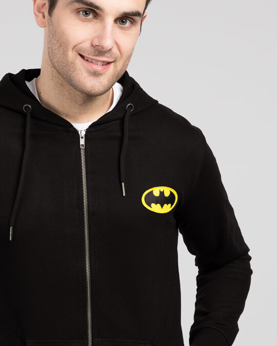 Shop Batman Logo Badge Zipper Hoodie-Front
