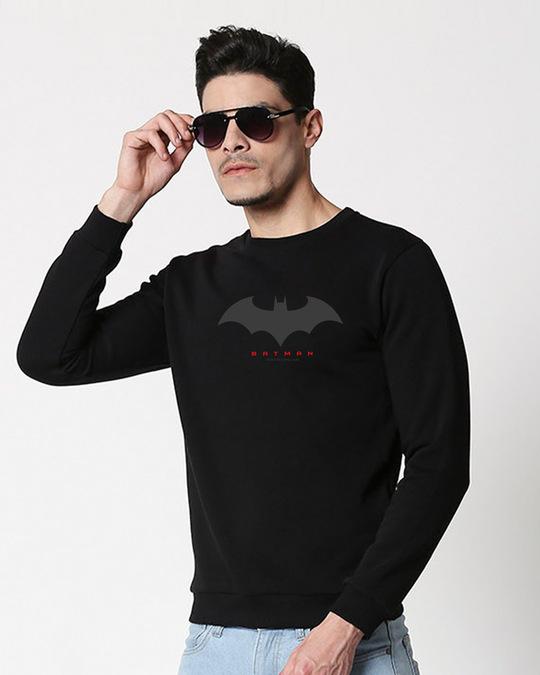 Shop Batman Outline Logo Fleece Sweater-Front