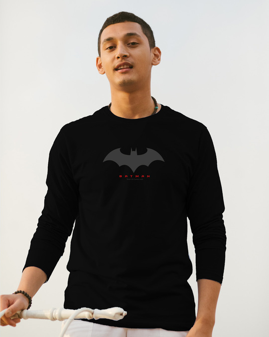 Shop Batman Outline Logo Full Sleeve T-Shirt (BML) Black-Front