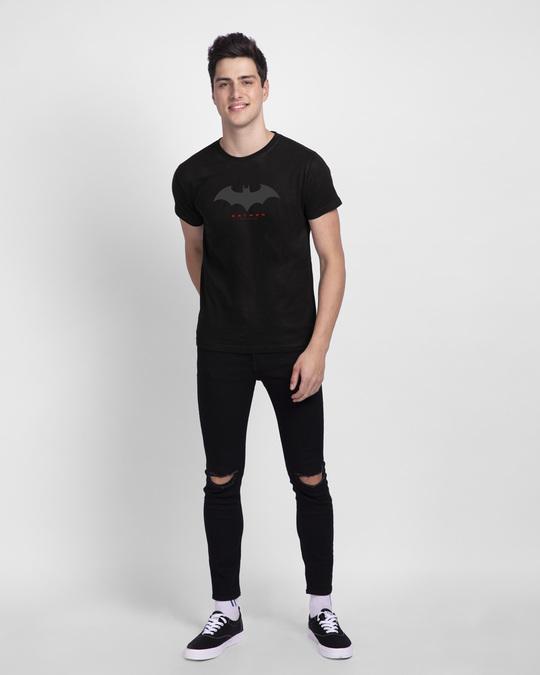 Shop Batman Outline Logo Half Sleeve T-Shirt (BML) Black-Full
