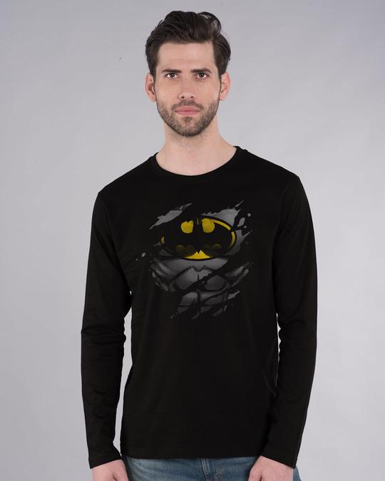 Shop Batman Torn Full Sleeve T-Shirt (BML)-Front