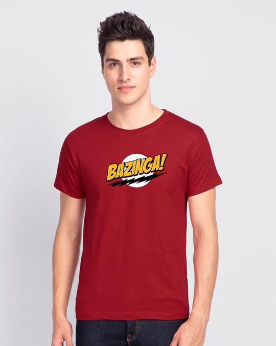 Shop Bazinga Sheldon Half Sleeve T-Shirt Bold Red-Back