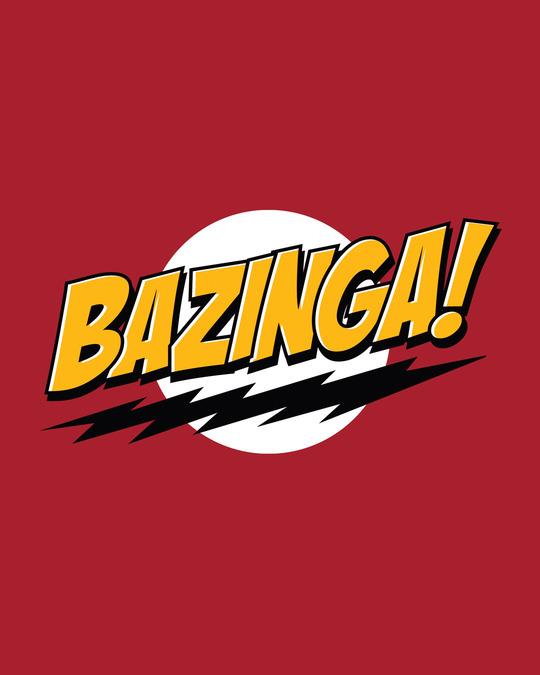 Shop Bazinga Sheldon Half Sleeve T-Shirt Bold Red