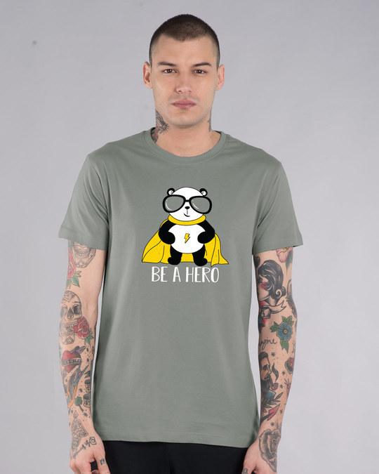 Shop Be A Hero Panda Half Sleeve T-Shirt-Back