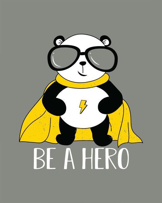 Shop Be A Hero Panda Half Sleeve T-Shirt