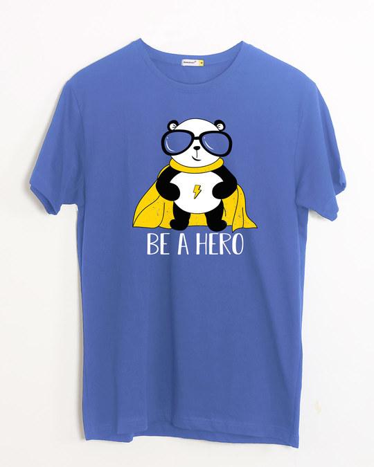 Shop Be A Hero Panda Half Sleeve T-Shirt-Front