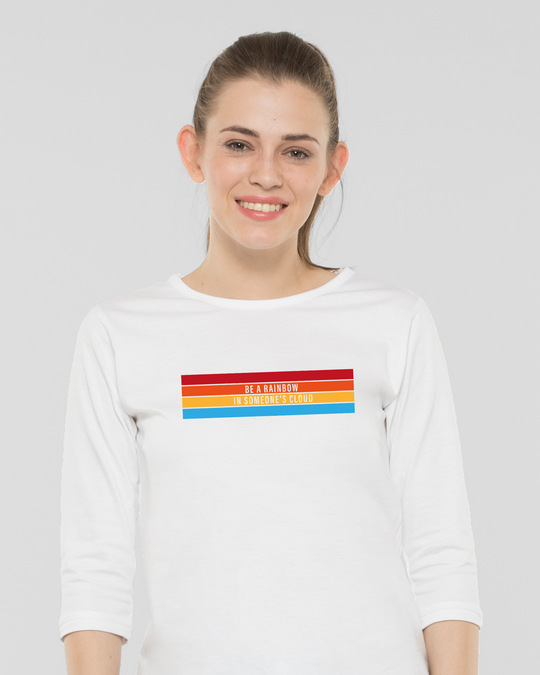 Shop Be A Rainbow Round Neck 3/4th Sleeve T-Shirt White-Front
