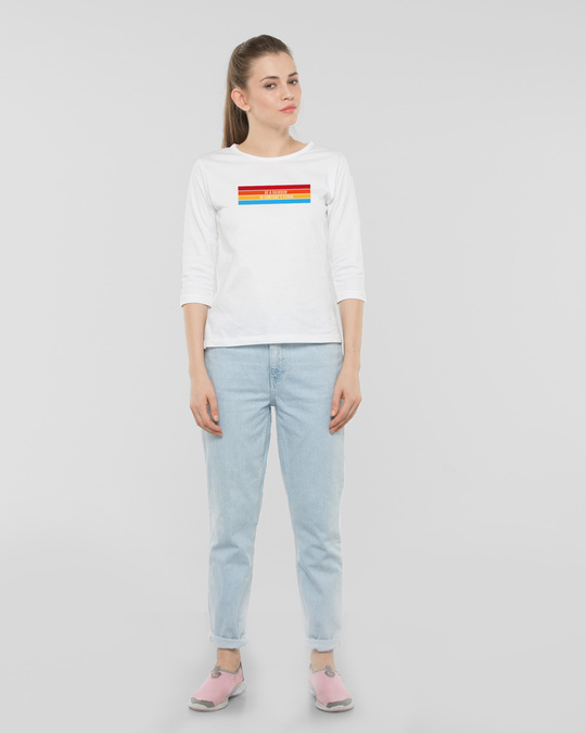 Shop Be A Rainbow Round Neck 3/4th Sleeve T-Shirt White-Design