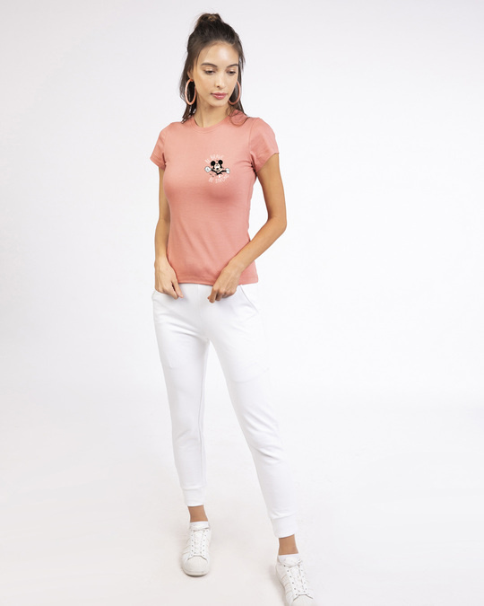 Shop Be Brave Be Strong Half Sleeve Printed T-Shirt (DL) Misty Pink -Full