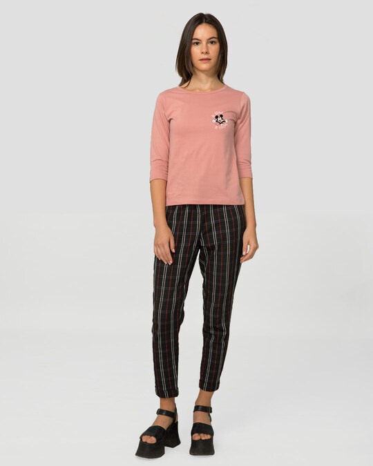 Shop Be Brave Be Strong Round Neck 3/4 Sleeve T-Shirts (DL) Misty Pink