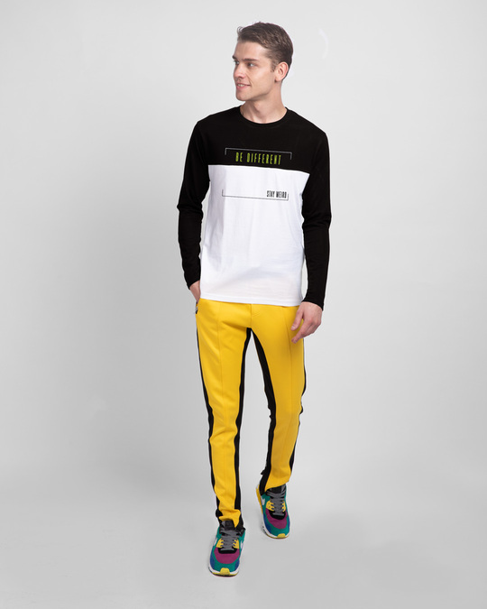 Shop Be-different-panel Color Block T-Shirt-Full