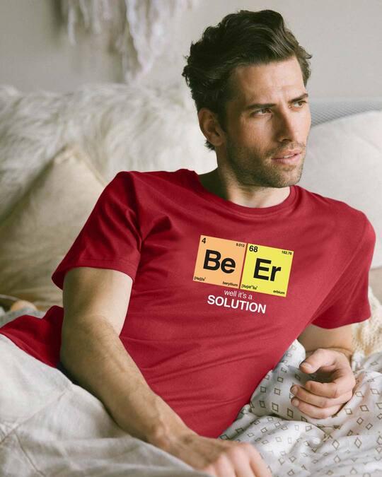 Shop Be-Er Solution Half Sleeve T-Shirt Bold Red-Front