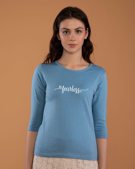 Shop Be Fearless Round Neck 3/4th Sleeve T-Shirt-Front