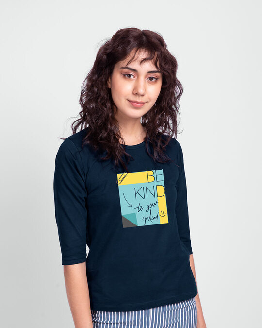 Shop Be Kind Colorblock Round Neck 3/4 Sleeve T-Shirts Navy Blue-Back