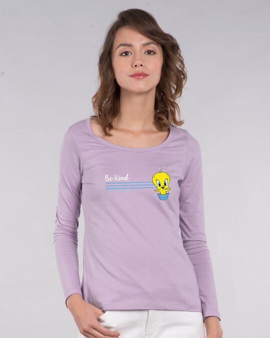 Shop Be Kind Tweety Scoop Neck Full Sleeve T-Shirt (LTL)-Front