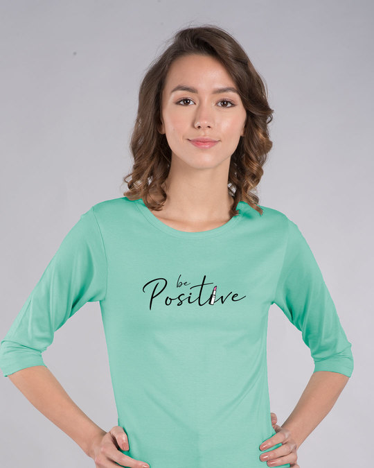 Shop Be Positive Lipstick Round Neck 3/4th Sleeve T-Shirt-Front