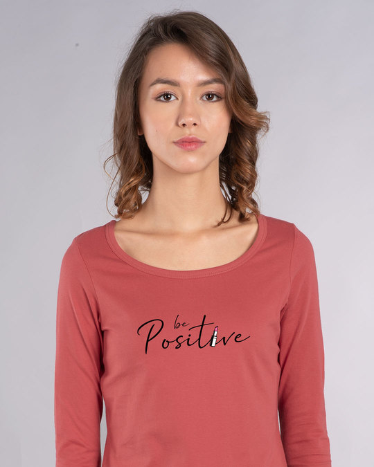 Shop Be Positive Lipstick Scoop Neck Full Sleeve T-Shirt-Front