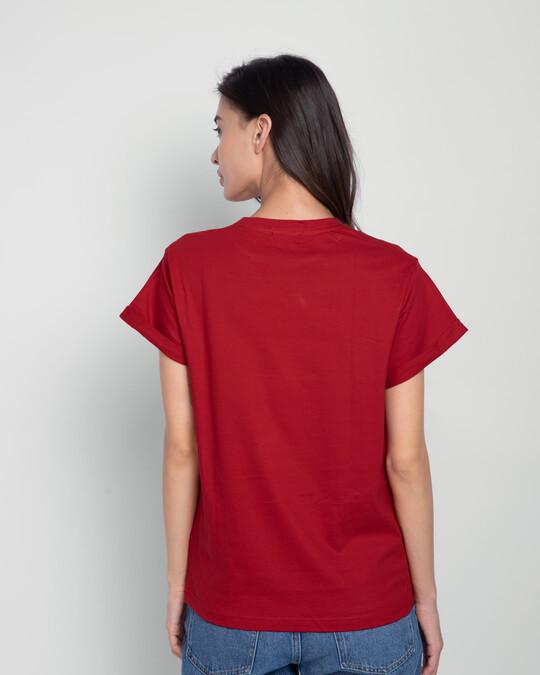 Shop Be Positive Minnie Boyfriend T-Shirt (DL) Bold Red-Back