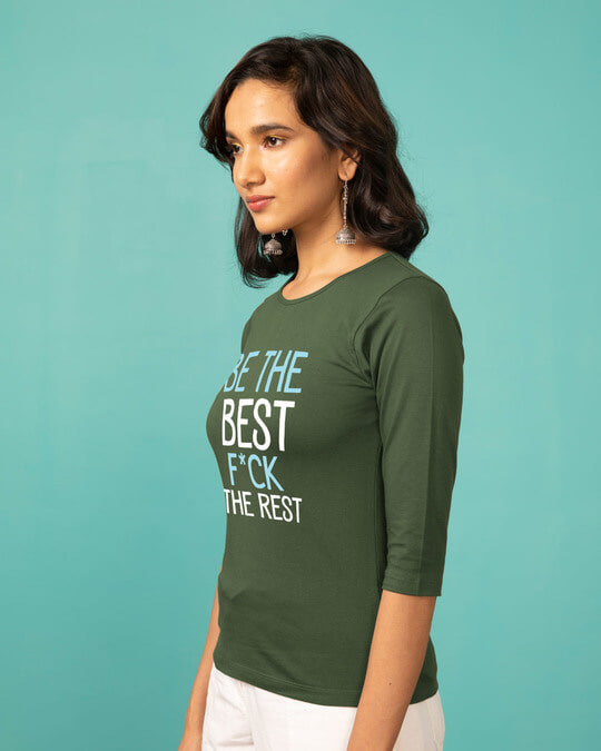 Shop Be The Best Round Neck 3/4th Sleeve T-Shirt-Back