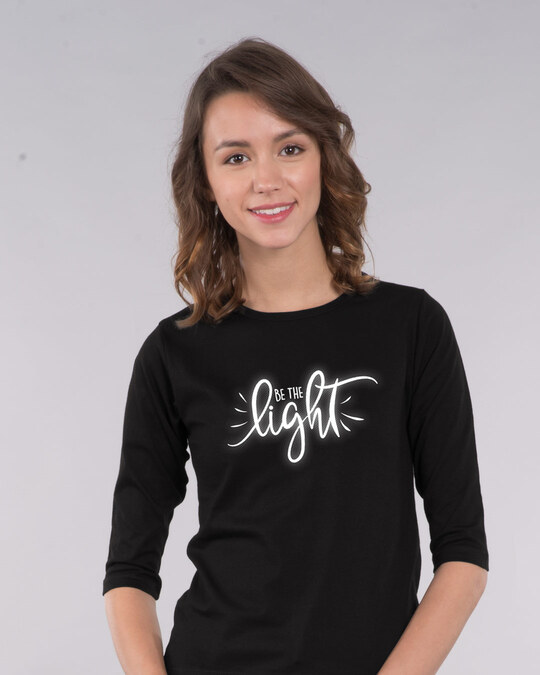 Shop Be The Light Round Neck 3/4th Sleeve T-Shirt-Front