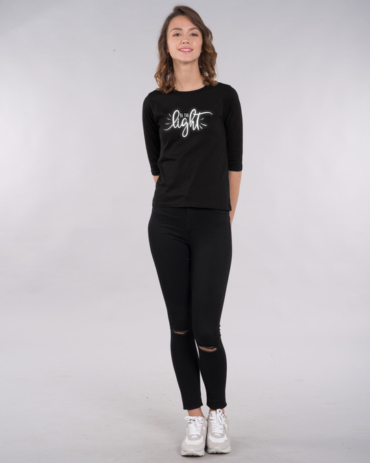 Shop Be The Light Round Neck 3/4th Sleeve T-Shirt-Design