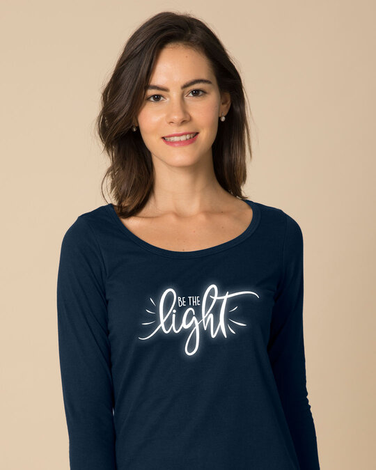Shop Be The Light Scoop Neck Full Sleeve T-Shirt-Front