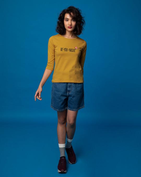 Shop Be-you-nique Round Neck 3/4th Sleeve T-Shirt-Design