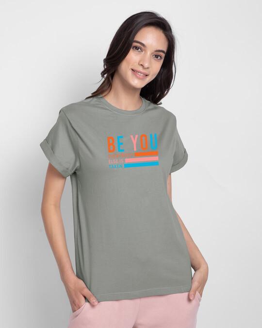 Shop Be You Stripes Boyfriend T-Shirts Meteor Grey-Front