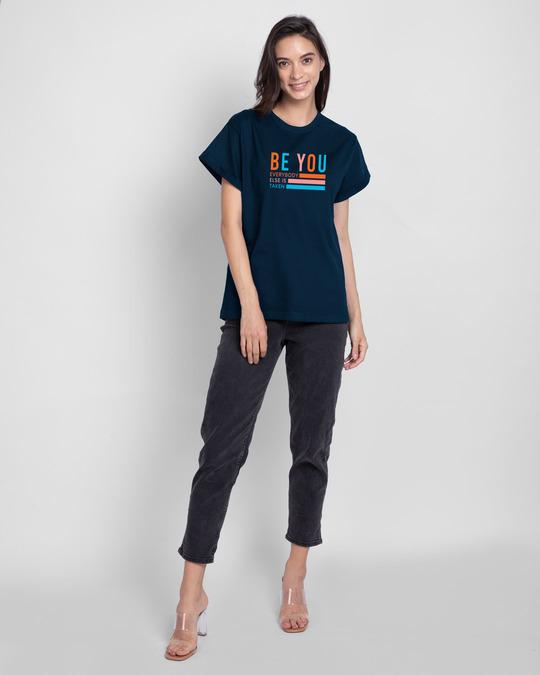 Shop Be You Stripes Boyfriend T-Shirts Navy Blue