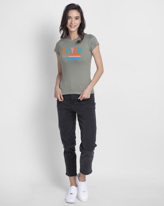 Shop Be You Stripes Half Sleeve Printed T-Shirts Meteor Grey-Design
