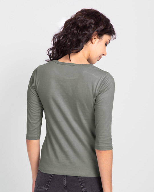 Shop Be You Stripes Round Neck 3/4 Sleeve T-Shirts Meteor Grey-Back