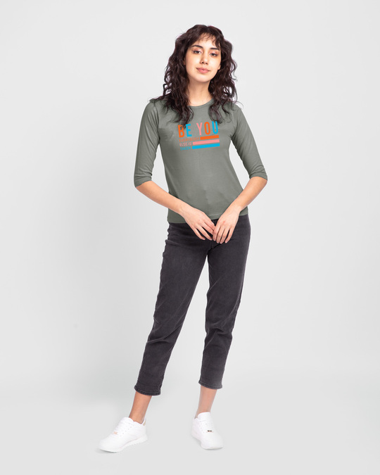 Shop Be You Stripes Round Neck 3/4 Sleeve T-Shirts Meteor Grey-Full