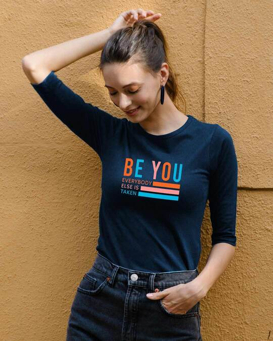Shop Be You Stripes Round Neck 3/4 Sleeve T-Shirts Navy blue-Front