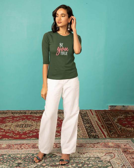 Shop Be-you-tiful Round Neck 3/4th Sleeve T-Shirt-Full