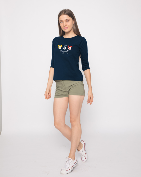 Shop Be Yourself Mickey Round Neck 3/4th Sleeve T-Shirt (DL)-Design