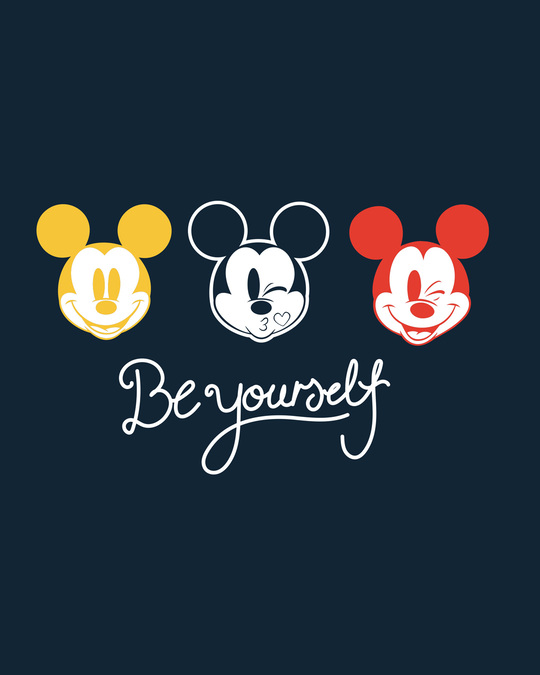 Shop Be Yourself Mickey Round Neck 3/4th Sleeve T-Shirt (DL)
